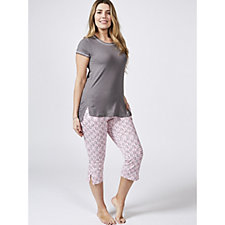 Cuddl Duds Short Sleeve T-Shirt & Cropped Trousers PJ Set