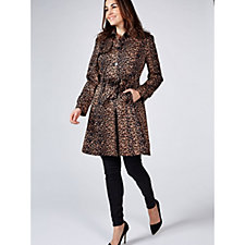 Helene Berman Single Breasted Animal Print Trench Coat
