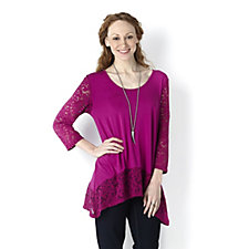 Fashion by Together Jersey & Lace Hem Tunic