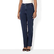 Quacker Factory DreamJeannes Straight Leg Trouser with Embellished Pocket