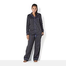 Carole Hochman Micro Fleece Printed Notch Collar PJ Set