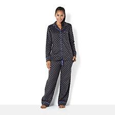 152196 - Carole Hochman Micro Fleece Printed Notch Collar PJ Set