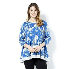 LOGO by Lori Goldstein Drape Effect Print Tunic with Ruffle Hem