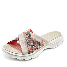 158496 - Skechers GOwalk Fiji Cross Band Slide Flower Print Cushioned Sandal