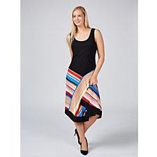 Coco Bianco Sleeveless Dress with Stripe Skirt & Asymmetric Hem