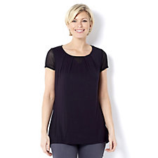H by Halston Extended Shoulder Top with Lace Insert