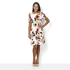 Ronni Nicole Short Sleeve Printed Cold Shoulder Dress