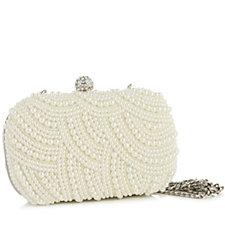 164796 - Claudia Canova Faux Pearl Detail Clutch Bag with Detachable Chain
