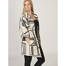 MarlaWynne Jacquard Pattern Sweater Coat