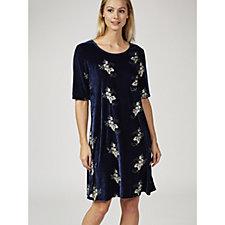 Ronni Nicole Short Sleeve Velvet A-Line Dress