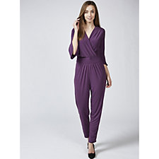 169696 - Grace Mock Wrap Jumpsuit with Fluted Sleeves