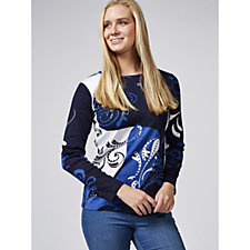 Artscapes Swirl Scroll Print Round Neck Long Sleeve Top