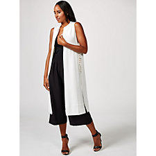 Andrew Yu Knitted Longline Waistcoat with Side Tie Up Detail