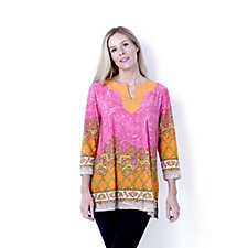 Border Print Tunic with Contrast Neckline Detail by Susan Graver