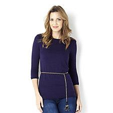 Warm Handle Jersey Tunic with Tassel Belt by Nina Leonard
