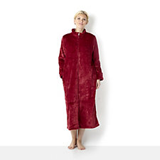 Carole Hochman Plush Paisley Embossed Pannel Zip Through Dressing Gown