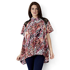 Antthony Designs Lace Back Printed Blouse with Flared Hem