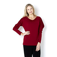 Kim & Co Stretch Crepe Long Sleeve Cold Shoulder Drape Neck Top