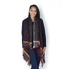 Jeanne Beker Boucle Knit Sleeveless Cardigan with Fringe Detail