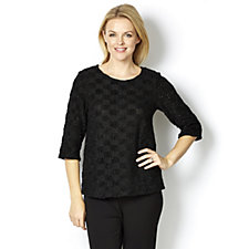 Kim & Co Checker Board Knit 3/4 Sleeve Round Neck Top