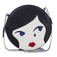 Lulu Guinness Round Lulu Smooth Leather Doll Face Chain Shoulder Bag