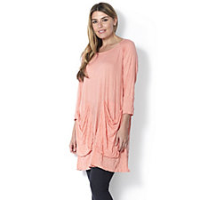 Yong Kim Crinkle Jersey Longline Tunic with Pockets