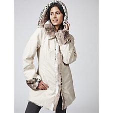 166097 - Dennis Basso Reversible Water Resistant & Printed Faux Fur Hooded Coat
