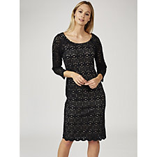 Ronni Nicole 3/4 Sleeve Stretch Medallion Lace Shift Dress
