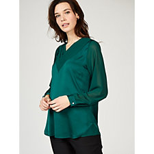 Olly Doo Triangle Layered Pleated Long Sleeve Top