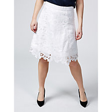 Isaac Mizrahi Live Floral Lace Skirt with Scalloped Hem