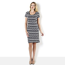 Ronni Nicole 'O So Slim' Textured Stripe Scoop Neck Dress