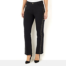 Quacker Factory Dream Jeannes Copper Crush Boot Cut Short Trouser