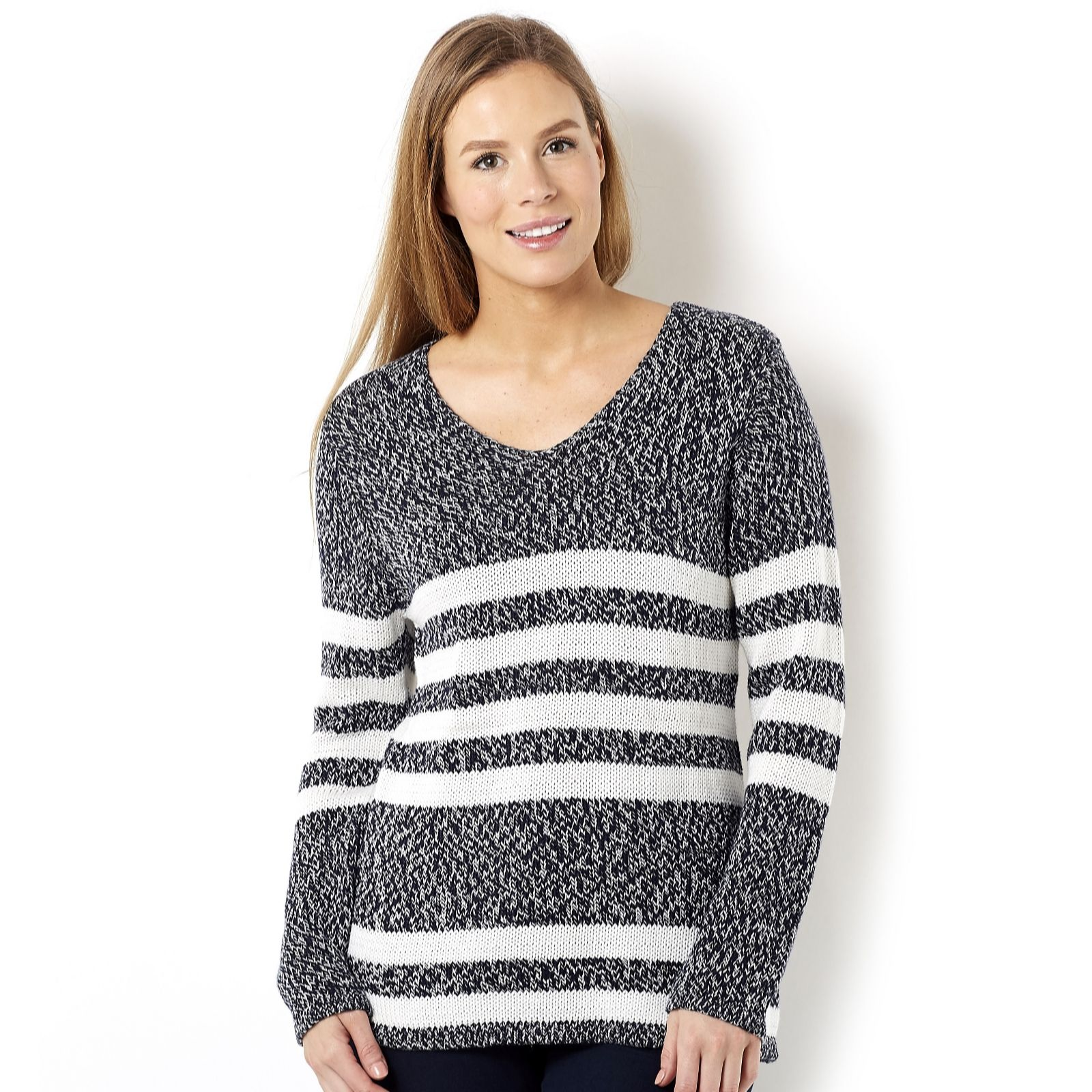 Marble Mixed Yarn Jumper with Stripe Detail