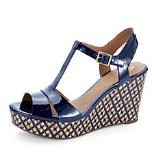 Clarks Amelia Roma T Bar Wedge Sandal with Printed Sole