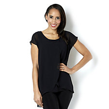 Coco Bianco Chiffon Top with Jersey Under Piece