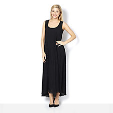 Join Clothes Pleated Chiffon Scoop Neck Maxi Dress