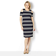 Ronni Nicole Cold Shoulder Striped Dress