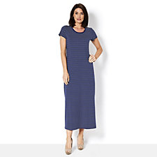 Isaac Mizrahi Live Short Sleeve Striped Maxi Dress with Side Split