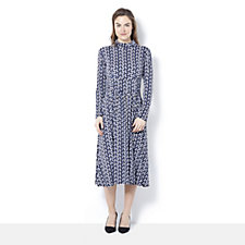 Lauren Half Circle Print Long Sleeve Dress by Onjenu London