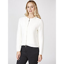 Marble Zip Front Cardigan with Pointelle Detail