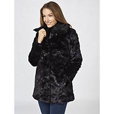 Dennis Basso Jacquard Faux Fur Coat