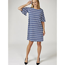 Ronni Nicole Bell Sleeve Printed Dress with Ruffle Cuffs