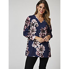 Grace 3/4 Sleeve Floral Print V Neck Top