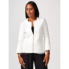 Andrew Yu Zip Up Jacket with Lace Trim Detail