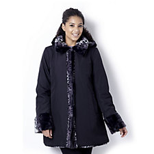 Dennis Basso Reversible Water Resistant & Printed Faux Fur Hooded Coat