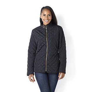 Centigrade Zip Front Quilt Jacket with Leatherette Trim
