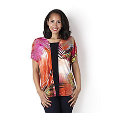 Attitudes by Renee Printed Dolman Sleeve Tunic with Dip Back