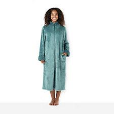 Carole Hochman Silky Plush Dimple Trim Zip Dressing Gown