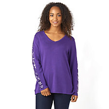 Sequin Sleeve V-Neck Tunic by Michele Hope