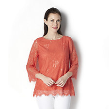 Fashion by Together 3/4 Sleeve Lace Top